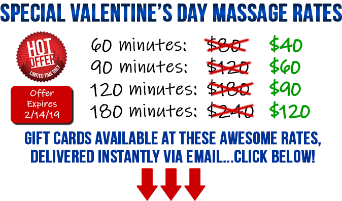 Back in Health Massage Special Valentine's Day Massage Rates